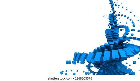 3D Illustration - flying cubes background blue