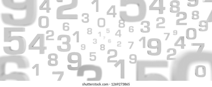 3D Illustration - Flying Numbers grey with white background