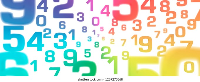 3D Illustration - Flying Numbers rainbow colors