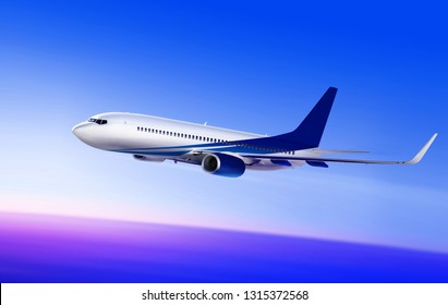 3d illustration of flying-up white passenger aircraft in the sky at sunrise