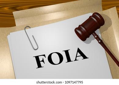 3D illustration of FOIA title on legal document