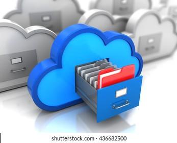 3D-Abbildung des Ordners im Cloud-Speicher
