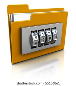 3d illustration of folder icon with security lock dial