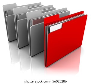 3d illustration of folder icons row with one selected