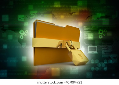 3d illustration of folder locked