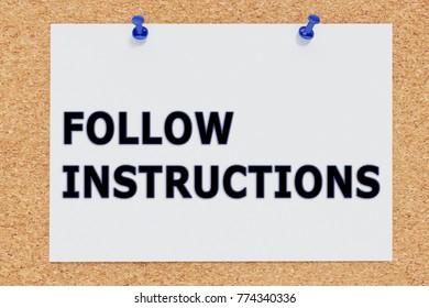 "3D illustration of ""FOLLOW INSTRUCTIONS"" on cork board"
