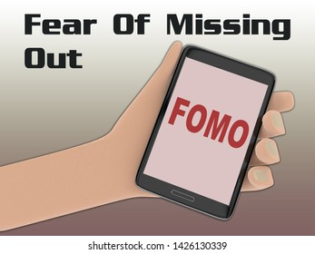 3D illustration of FOMO script on the screen of a cellulr phone held by hand
