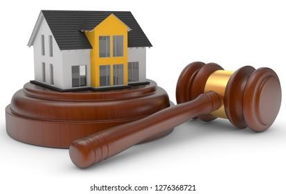 3D illustration foreclosure flat