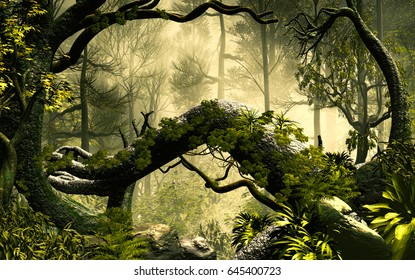 3D Illustration of forest landscape with a dense and cloudy atmosphere