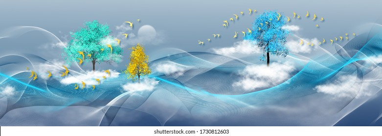 3d illustration of forest of trees and river. Luxurious abstract art digital painting for wallpaper
