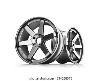 3d illustration of forged car rims isolated on white background