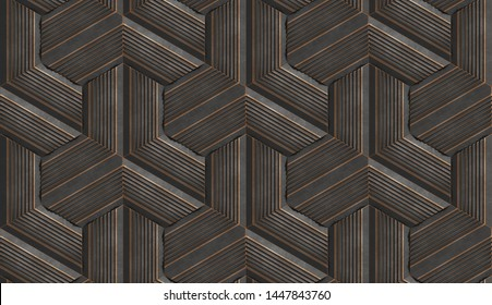3D illustration in the form of black relief modules with golden scuffs on the edges. High quality seamless realistic texture.