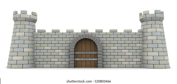 3d illustration of fortress front wall, protection and safety concept