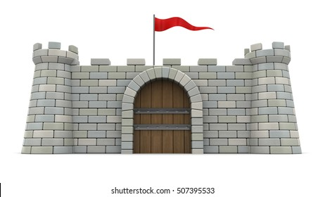 3d illustration of 3d fortress with red flag, over white background. Front view