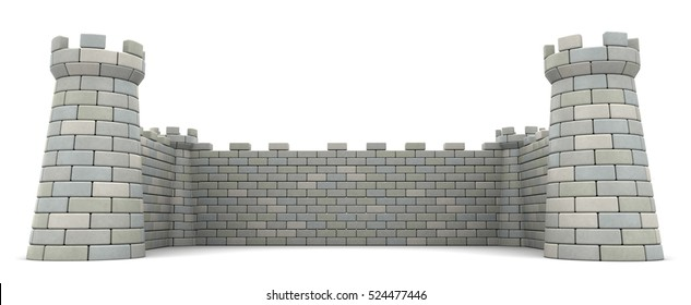 3d illustration of fortress walls, empty space template