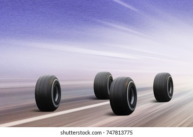 3D illustration of four automobile wheels rush on winter road in snowstorm