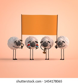 3d illustration four cute cartoon sheeps with empty banner on orange background
