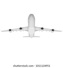 3D illustration of four engine commercial airplane isolated on white background