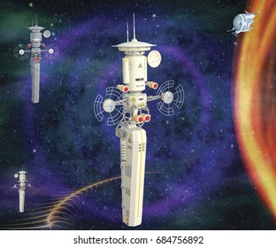 3D illustration of of four futuristic spaceships flying in space