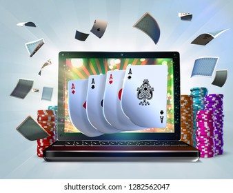 3D Illustration of Four Of A Kind Aces playing cards popping out from a laptop screen. Gambling concept suggesting the idea of playing desktop versions of poker games on offer at online casinos