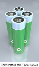 3d Illustration of four standing green and blue batteries with recycle symbol