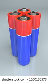3d Illustration of four standing red and blue batteries
