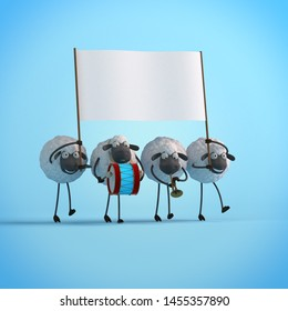 3d illustration four walking cute cartoon sheeps with empty banner on blue background