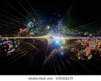 3D illustration of fractal burst and atomic structures on the subject of elementary particle physics, deep space , astrophysics, education and virtual reality.