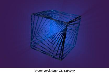 3d illustration fractal hypercube.