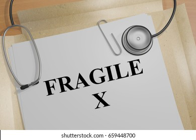 "3D illustration of ""FRAGILE X"" title on a medical document"