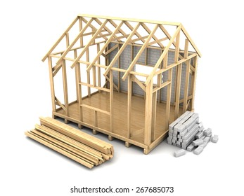 3d illustration of frame house construction with white bricks