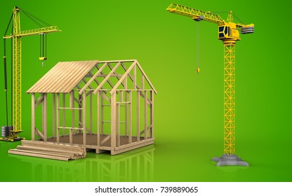 3d illustration of frame house construction with crane over green background