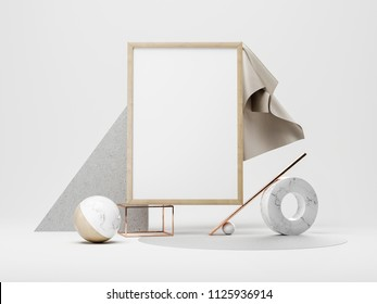 3d illustration. Frame Mockup with abstract colored forms.