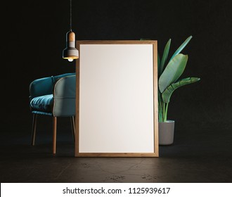 3d illustration. Frame Mockup in a minimalistic interior.
