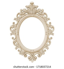 3D illustration frame vintage baroque picture mirror ornament classic
