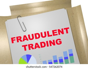 """3D illustration of """"FRAUDULENT TRADING"""" title on business document"""