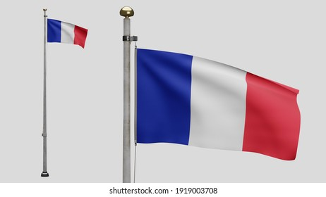 3D illustration French flag waving in wind. Close up of France banner blowing, soft and smooth silk. Cloth fabric texture ensign background. Use it for national day and country occasions concept.