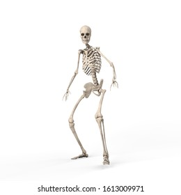 3d illustration of a frightened skeleton steps back against on white background