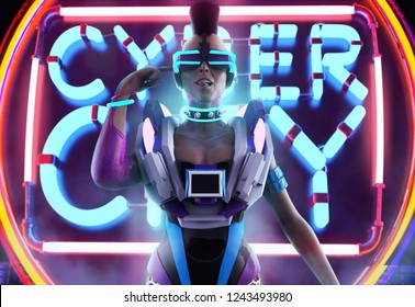3d illustration of a front character artwork of a sci-fi cyber punk girl with neon glasses, collar and armor torso on neon city background.