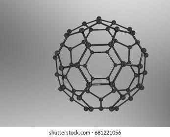 3D illustration of Fullerene - Buckminsterfullerene Molecule