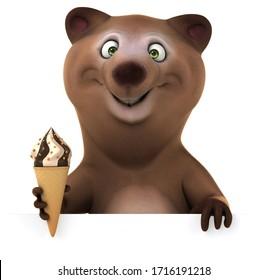 3D Illustration of a fun bear