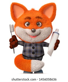 3d illustration funny fluffy forest animals with red hair washes and brushes teeth/3d illustration funny little Fox with toothbrush and toothpaste
