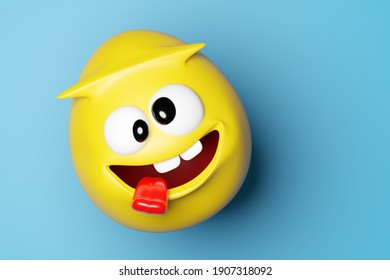 3d illustration funny yellow egg with eyes and smiles showing tongue and having fun on blue isolated background. Funny smiley
