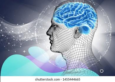 3d illustration. Future. Digital brain. Cyborg. Data. Life. Head.