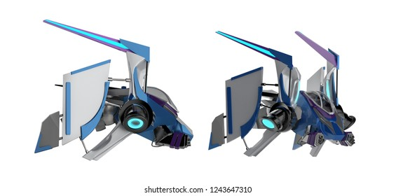 3d illustration of a futurisctic metal sci-fi spaceship with neon stripes and blue painted hood side view isolated on white background.