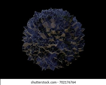 3D Illustration - Futuristic abstract spherical shape on black background