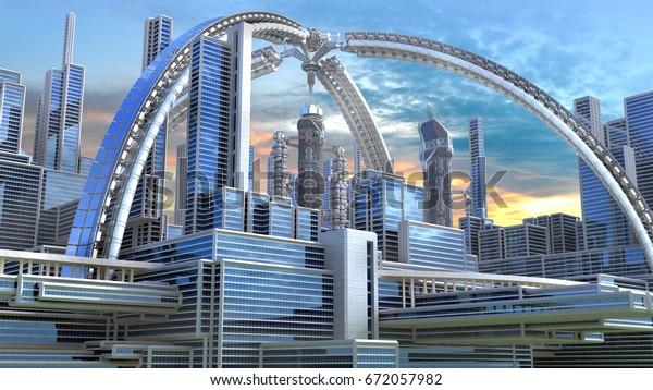 Ilustración De Stock Sobre Ilustración 3d De Una Ciudad