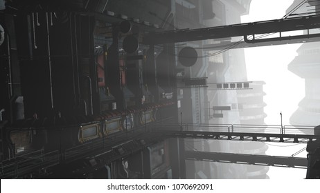 3D illustration of a futuristic cityscape in cyberpunk style. Industrial landscape in a white haze.