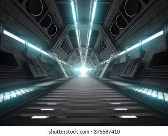 3d illustration of futuristic design spaceship interior
