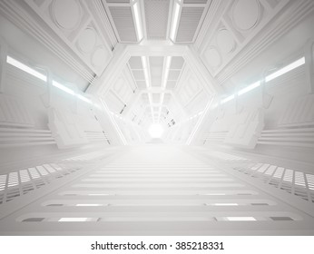 3d illustration of futuristic design spaceship interior